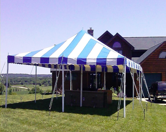 Blue & White Striped Pole Tent for Rent